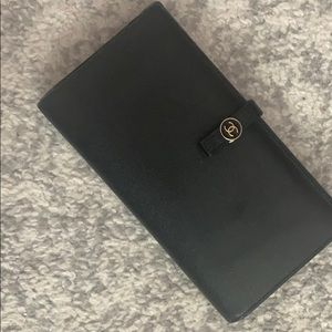 Chanel Coco Button Long Black Wallet